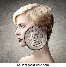 skin with cracks - beautiful woman has skin with cracks