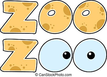 Skin Zoo Text With Eyes. Collection