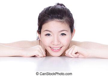 skincare, 미소, 여자, 건강, 얼굴