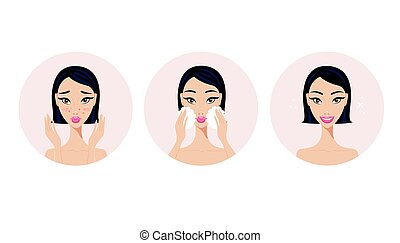 Skincare and acne treatment steps Girl applying face beauty product
