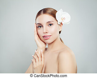 Young woman with healthy skin portrait