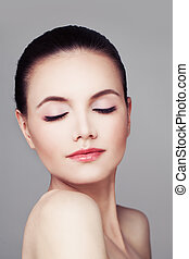 Skincare and Spa. Healthy Woman with Pure Skin