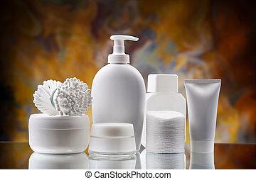 skincare, blanco, conjunto, accesorios