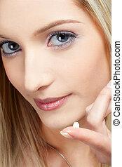 skincare - closeup portrait of beautiful slavonic blonde...