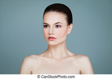 Skincare Concept. Healthy Woman with Clear Skin