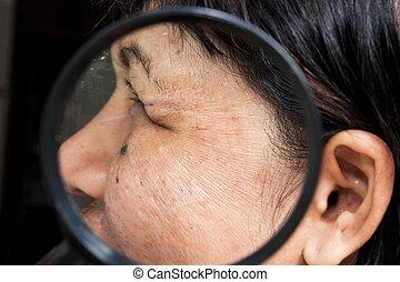 skincare, en, gezondheid, concept, -, rimpels, op, de, gezicht