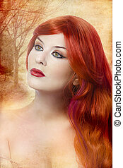 Skincare, Face of a beautiful young woman with redhair -...