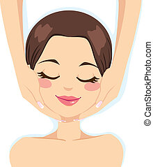 Skincare Facial Massage - Beautiful young woman enjoying...