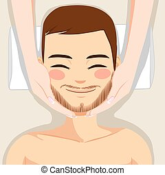 Skincare Man Massage - Attractive young bearded man enjoying...