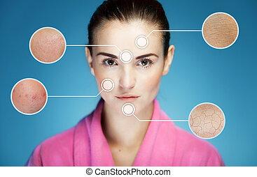 skincare, pele, conceito, problemas, rosto