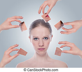 skincare, piel, plano de fondo, antes, gris, mujer, después...