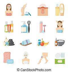 skincare, plat, bodycare, iconen