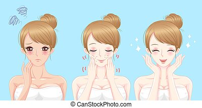 skincare, probleem, vrouw