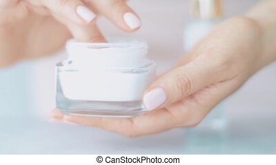 Skincare product at spa, face or hand cream jar for healthy skin care routine, organic cosmetic and beauty brand, stock footage