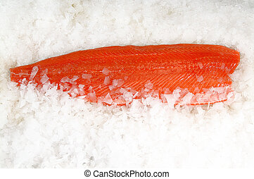 Skinless salmon fillet on ice