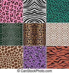 skinn, mönster, tyg, seamless, djur