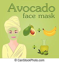 skinn, olja, banan, ansikte, oliv, avokado, torka, diy, ...