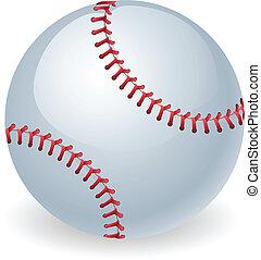 skinnende, bold, baseball, illustration