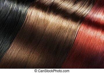 skinnende, hår farve