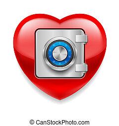 skinnende, rødt hjerte, idet, en, pengeskab