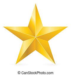 skinnende, stjerne, guld