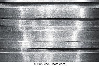 skinnende, strimler, metal
