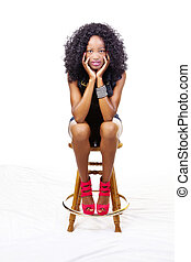 Skinny African American Teen Girl Sitting Stool