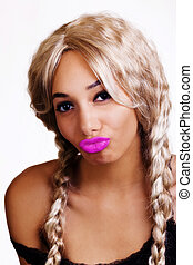 Skinny African American Woman Lips Puckered Blond Wig