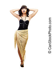 Skinny African American Woman Standing Gold Shawl