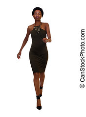 Skinny African American Woman Standing Green Dress