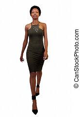 Skinny African American Woman Standing Green Dress