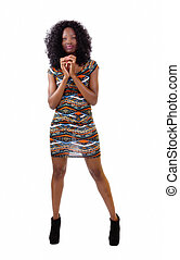 Skinny African American Woman Standing In Dress