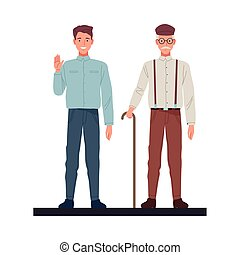 skinny and old men perfectly imperfect characters vector illustration design