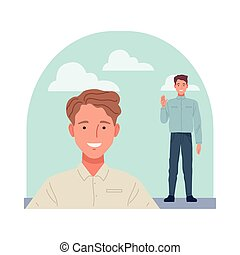skinny and short men perfectly imperfect characters vector illustration design