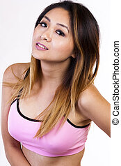 Skinny Asian American Woman Pink Exercise Top