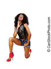 Skinny Attractive Black Teen Woman Shorts Jacket