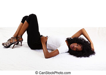 Skinny Attractive Teen African American Girl Reclining