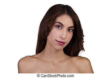 Skinny Bare Shoulder Portrait Attractive Hispanic Woman