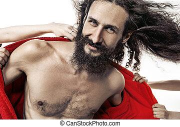 Skinny casanova among many women - Skinny, handsome casanova...