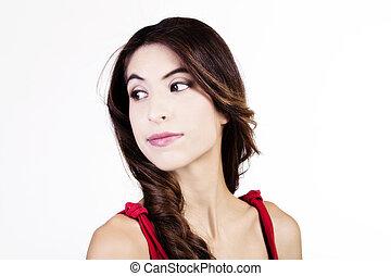 Skinny Hispanic Woman Portrait Looking To The Side