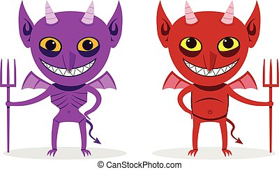 Skinny imp and fat devil, front view, vector art