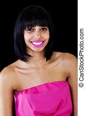 Skinny Light Skinned Black Woman Smiling Bare Shoulders