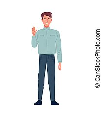 skinny man perfectly imperfect character icon vector illustration design