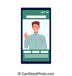 skinny man perfectly imperfect in smartphone vector illustration design