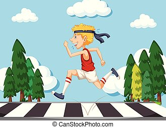 Skinny man running on the road