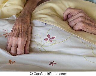 Skinny old hands - The hands of a very old and skinny woman ...