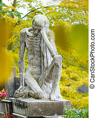 Skinny Old Man Male Statue Sitting On A Tombstone Skinny Old Man Male Granite Statue Sitting On A Tombstone 24th Of Canstock