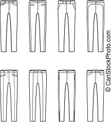 Skinny pants - Vector illustration. Set of womens skinny...