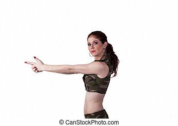 Skinny Redheaded Woman Pointing Fingers Like Gun