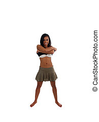 Skinny young black woman smiling taking off shirt
